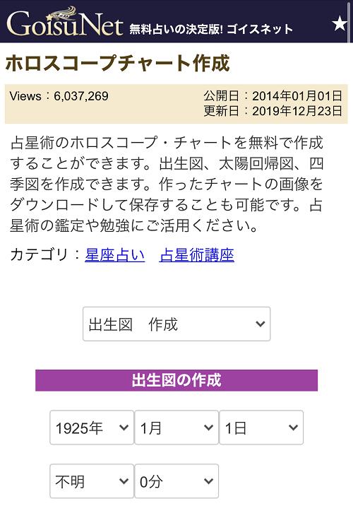 ゴイスネットのホロスコープ①